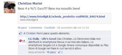 LG non venderà Nexus 4 in Italia