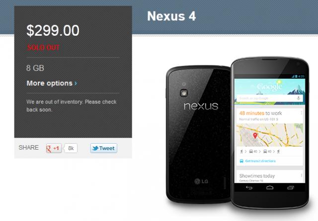 Nexus 4 8 GB, nuovamente esaurito negli USA