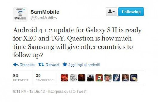 Galaxy S2, Android 4.1.2 ormai pronto