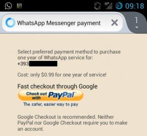 Come pagare l'abbonamento a WhatsApp con PayPal
