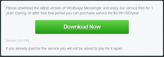 WhatsApp messaggio sulla licenza d'uso