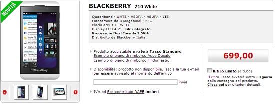 BlackBerry Z10 da MediaWorld