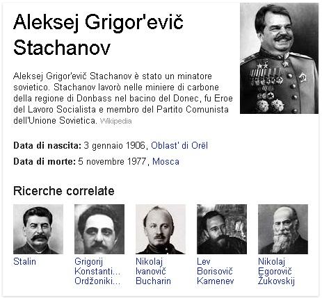 Le schede di Google hanno il senso dell'umor? Brunetta come Stachanov