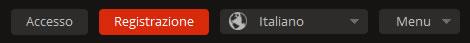 MEGA, barra grigia per cambiare lingua, registrarsi ed eseguire il login
