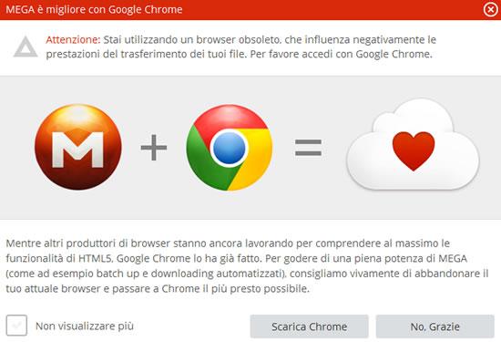 MEGA, avviso compatibilità browser