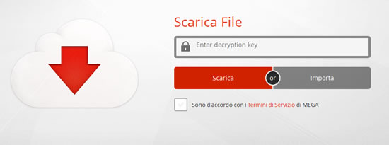 MEGA, apertura link a file senza key file