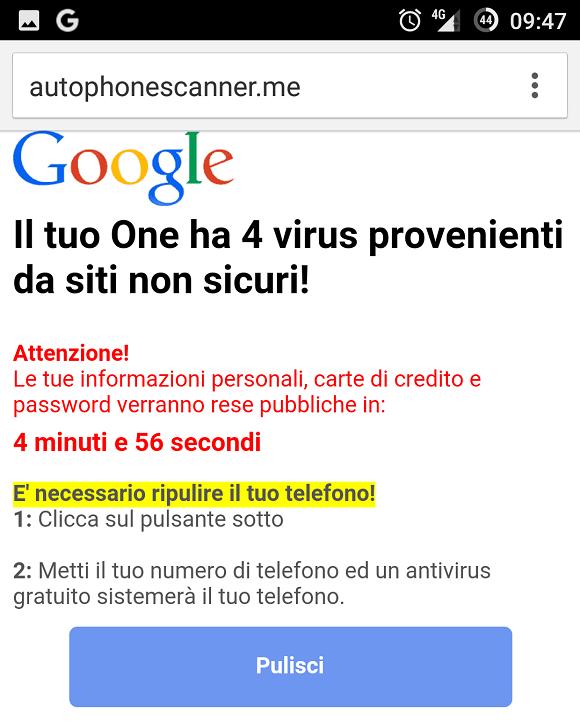 Come eliminare il messaggio Il tuo smartphone ha 4 virus provenienti da siti non sicuri