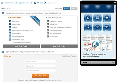 Come creare un sito web mobile con Duda Mobile