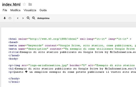 Come pubblicare il proprio sito web statico su Google Drive