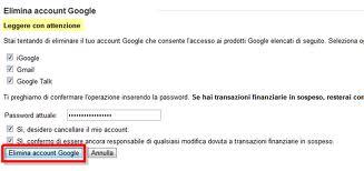 Eliminare l'account Google