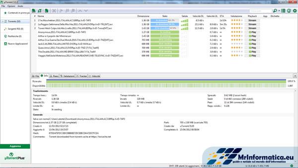 Come scaricare file in P2P con uTorrent - L'interfaccia di uTorrent