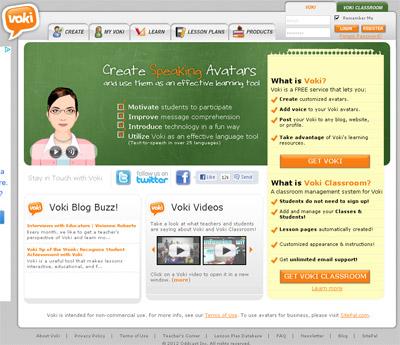 Home page di Voki