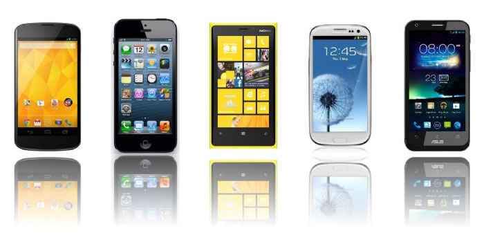 Confronto tra Nexus 4, iPhone 5, Lumia 920, Galaxy S3 e Padfone 2