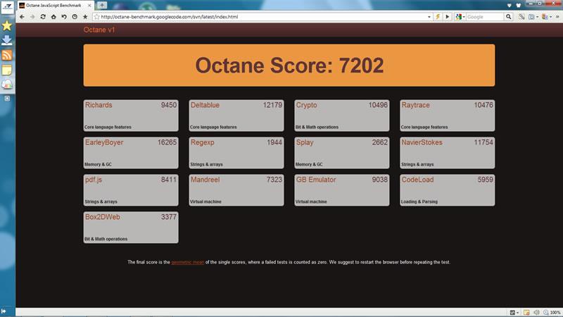 Octane test su Maxthon 3