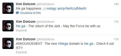 I tweet legati al lancio di Mega