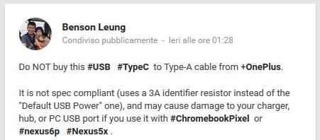 Un ingegnere Google sconsiglia l'acquisto degli adattatori USB Tipo C del OnePlus Two