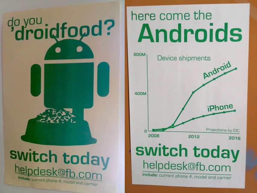Facebook invita i propri dipendenti a scegliere Android