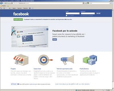 Pagina ingresso per creare un pagina aziendale su Facebook