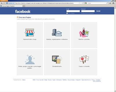 Seleziona il tipo di attività per la pagina su Facebook