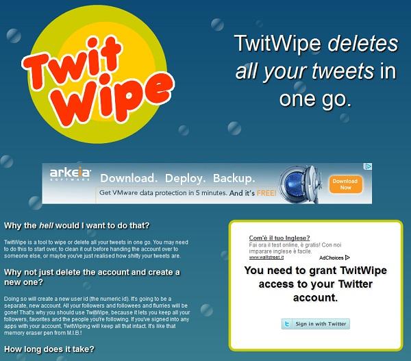 Come cancellare tutti i tweet da Twitter con Twit Wipe