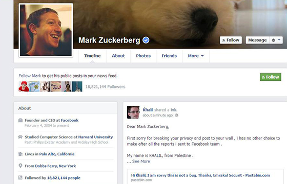 Facebook, ragazzo sedicenne scopre un bug e per dimostrarlo viola il profilo di Mark Zuckemberg
