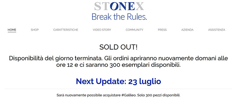 Stonex One, vendite subito sold out e riapertura rimandata a data da destinarsi