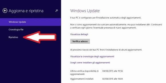 Come ripristinare Windows 8