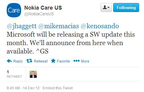 Nokia Lumia 920, aggiornamento previsto per fine Dicembre