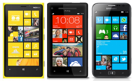 Confronto tra Nokia Lumia 920, Samsung Ativ S e HTC 8X tre top gamma con Windows Phone 8