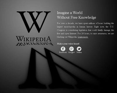 Come appare Wikipedia 18/01/2012